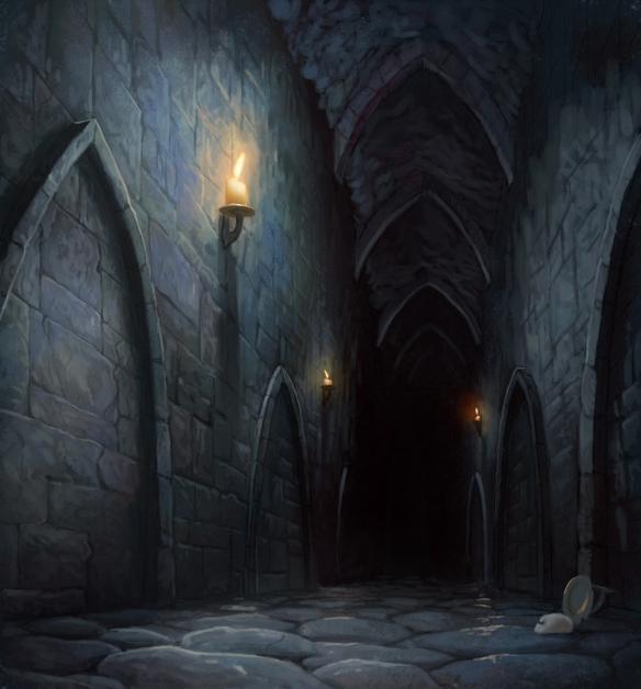 dark castle hallway
